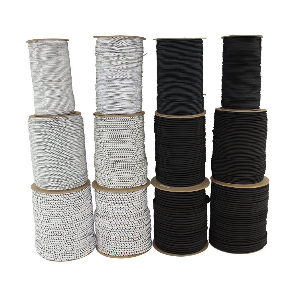 Polypro Shock Cord (1/4 inch) - SGT KNOTS - Polypropylene Bungee Line/Elastic Rope - for All-Weather, Crafting, Tie Downs, Commercial, Industrial & Camping (500 feet - spool - White w Black Tracer)