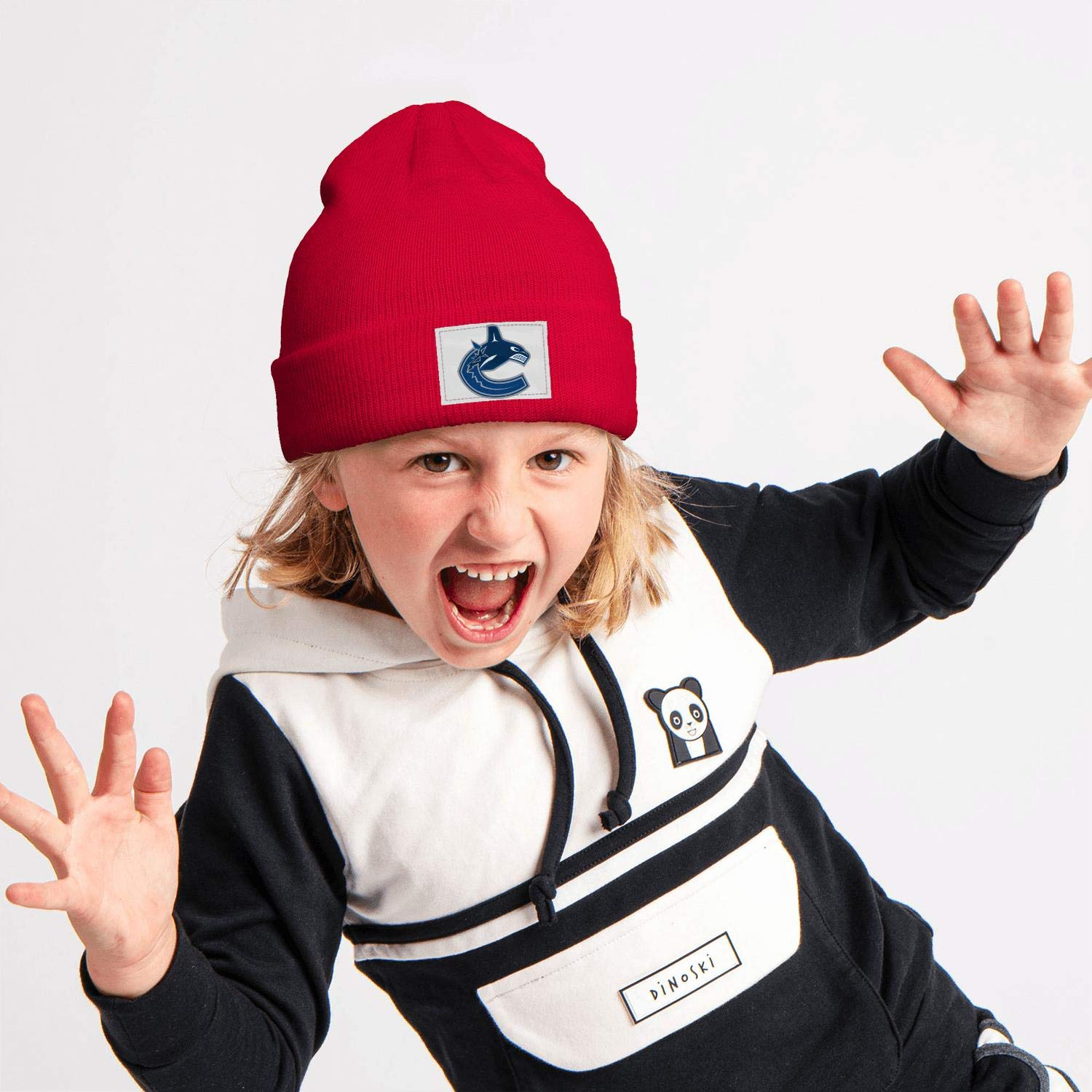 Kids Winter Knit Cap Cute Stretchy Style Red Beanie Hat for Boys Girls