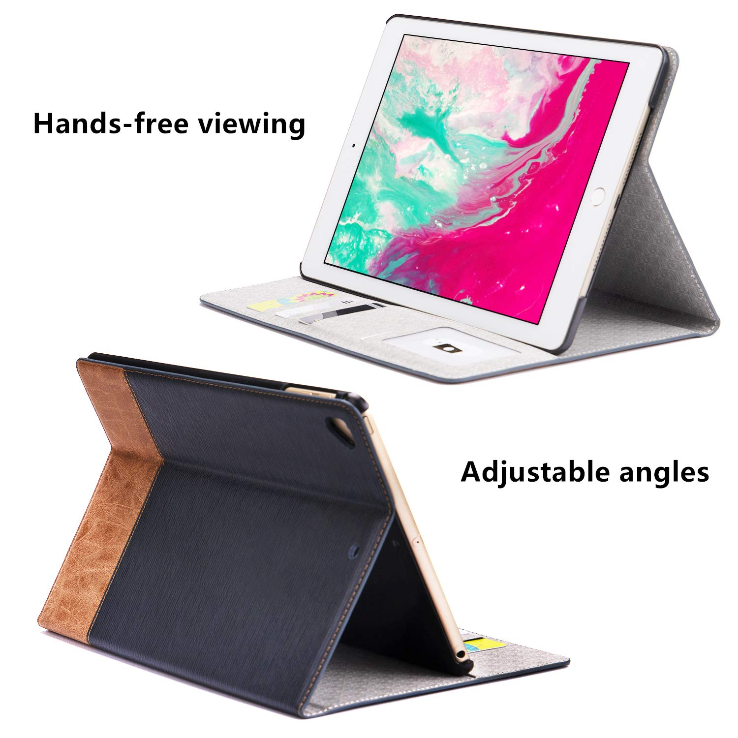 Apricot Zerobox iPad 7th Generation 10.2 2019 Case Slim Stand with Card Slots Magnetic Smart Cover for Apple iPad 7th 10.2 inch Tablet