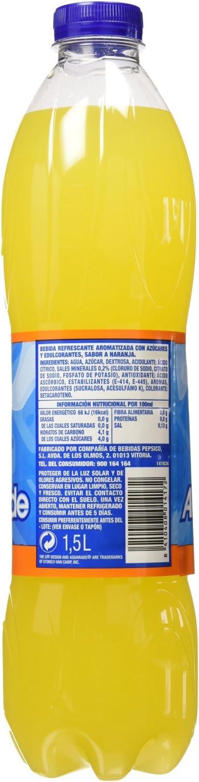 Aquarade - Bebida Refrescante Sabor Naranja 1.5 litros - Pack de 6 (Total 9 litros)
