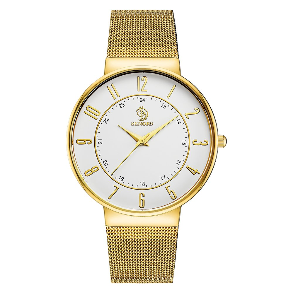 SENORS Casual Business Men and Women's Thin Watch Stainless Steel Vacuum Plating Band Quartz Wristwatch
