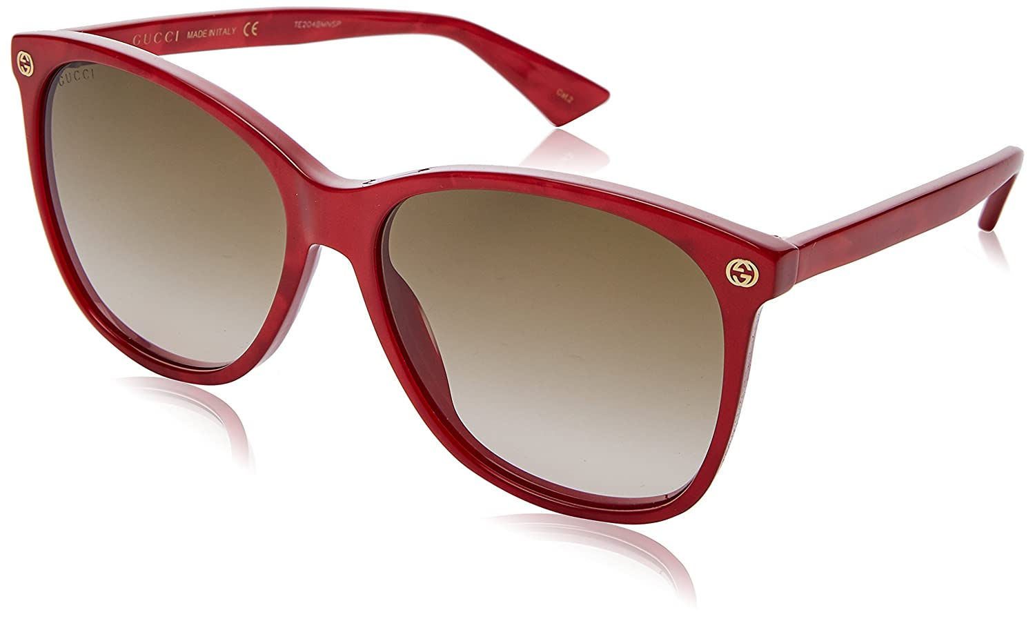 36a74b278d0 Amazon.com  Sunglasses Gucci GG 0024 S- 006 RED   BROWN  Clothing