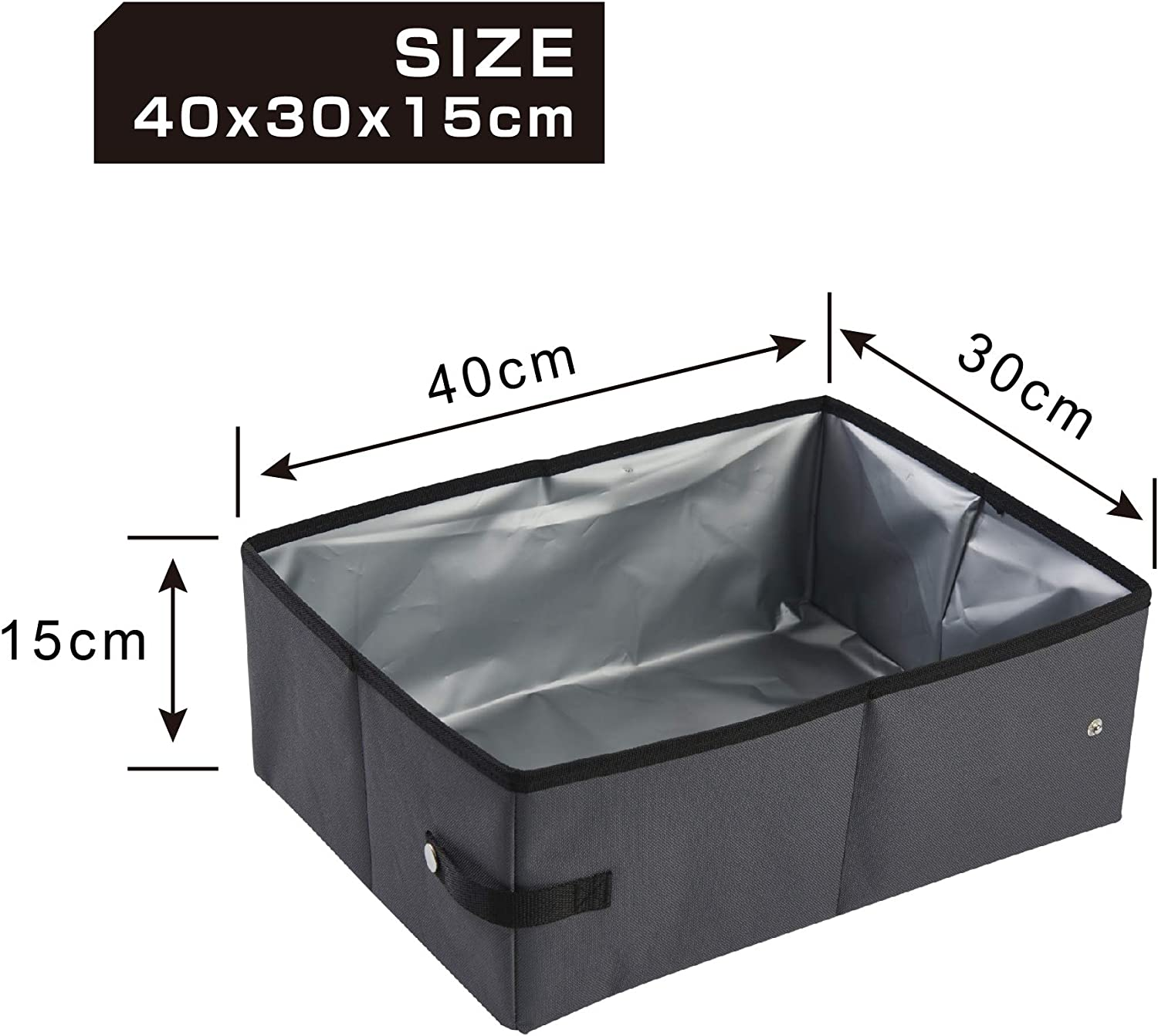 Grey EDENPETZ Collapsible Portable Cat Litter Box,Free Collapsible Pet Bowl Included