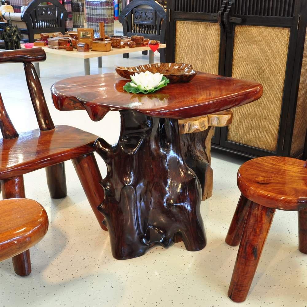 Tisch Massivholz Wurzelholz Möbel Gartenmöbel Wintergarten Gartentisch für Außen und Innen