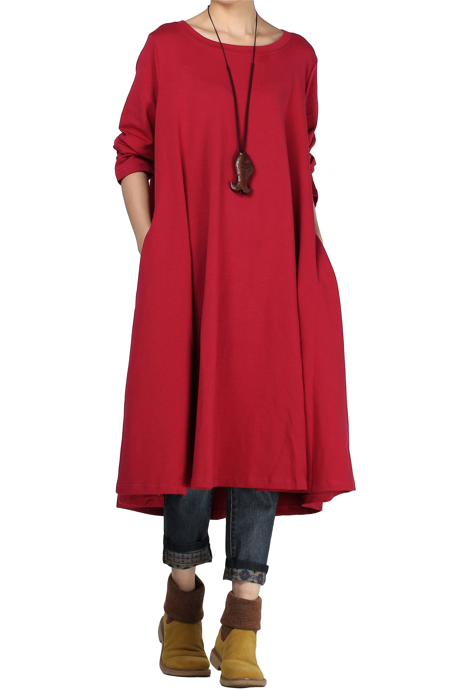 Mordenmiss Women's New Spring/Fall Round Neck Pullover Dress - Large  - Style 1 Burgundy