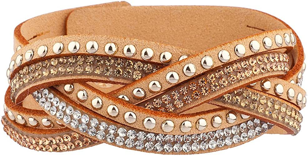 Lux Accessories Tan Suede Sicker Stone Silver Tone Studded Wrap Bracelet