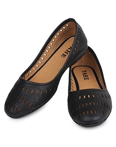 YAHE Women's Casual Faux Leather Belly Shoes Black Colour [ Y-5532-BLACK-