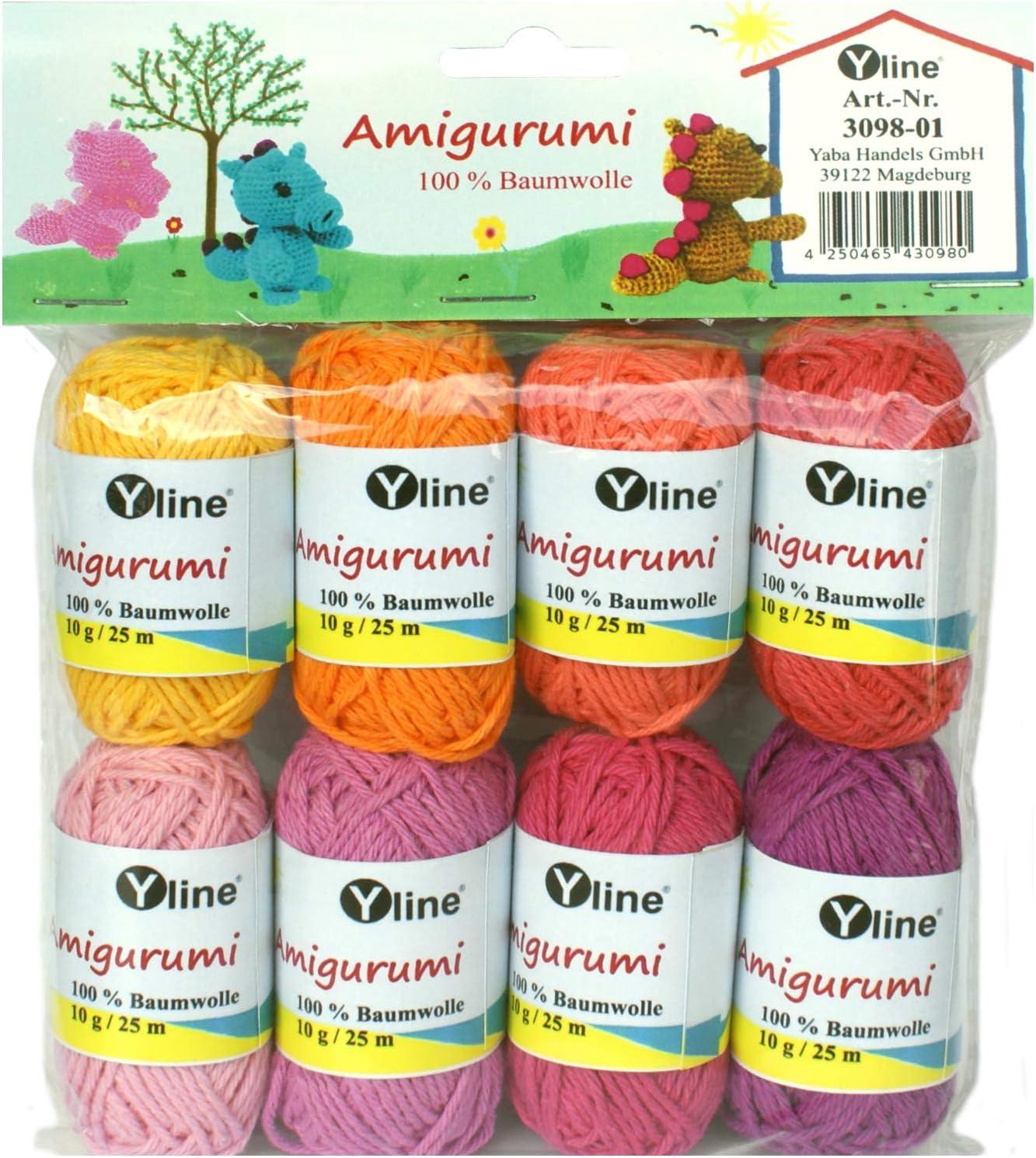 Juego de ovillos de lana Amigurumi de Yline. 10 g, 100% algodón, hilo, lana de punto, hilo de ganchillo, 3098-01: Amazon.es: Hogar