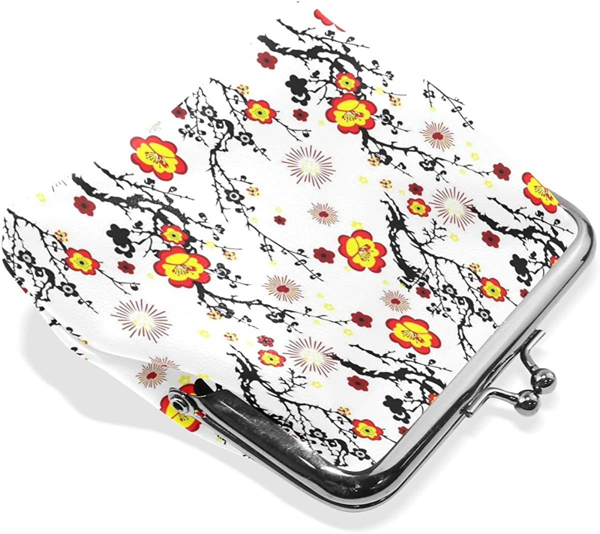 Sunlome Vintage Simple Floral Pattern Wallet Card Holder Coin Purse Clutch Handbag for Women Girls