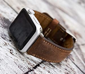 Series 6-5-4-3-2-1, Apple Watch Leather Band 44mm 40mm Brown, Black, Pink, Red, Yellow, Gray, Purple Personalized iWatch Strap