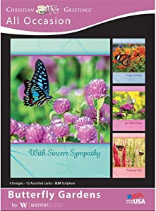 Butterfly Gardens - All Occasion Greeting Cards - KJV Scripture - (Box of 12)