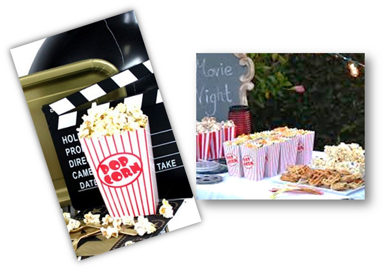 Movie Theater Small Popcorn Boxes - Paper Popcorn Boxes Striped Red and White - Great for Movie Night or Movie Party Theme, Theater Themed Decorations or Carnival Party Circus etc. (40 Boxes) by kedudes