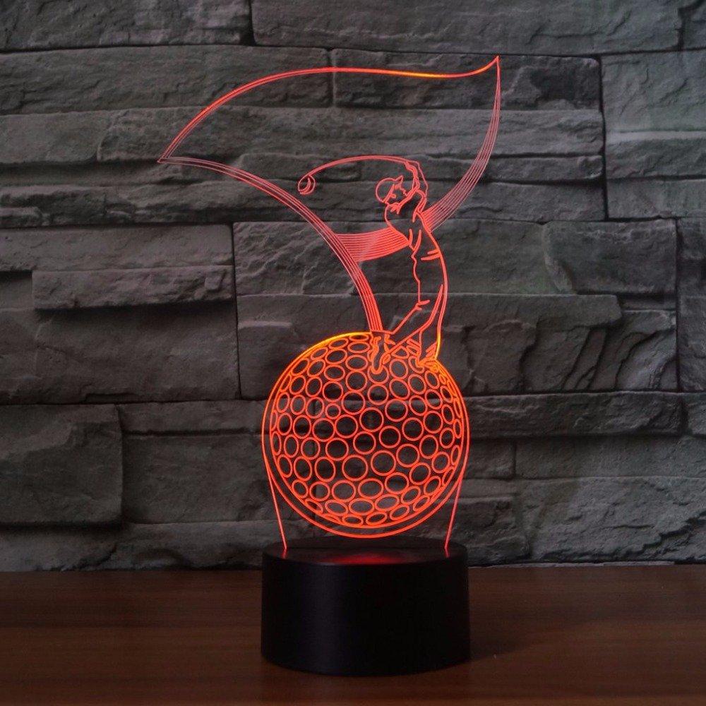 3D golfer Optische Illusions-Lampen Tolle 7 Farbwechsel Acryl ber/ühren Tabelle Schreibtisch-Nachtlicht mit USB-Kabel f/ür Kinder Schlafzimmer Geburtstagsgeschenke Geschenk