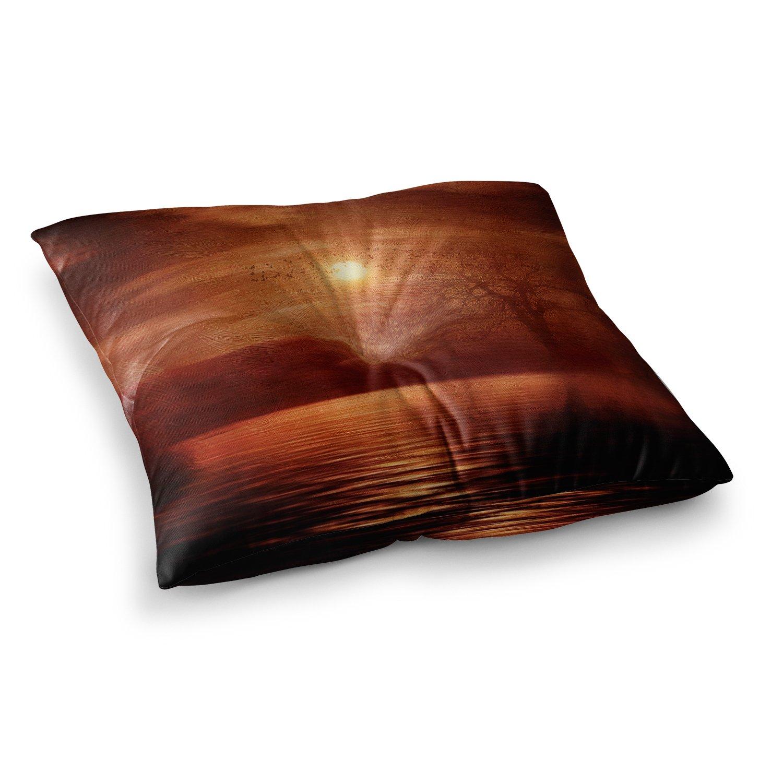 23 x 23 Square Floor Pillow Kess InHouse Viviana Gonzalez Woods to Conjure Red Black