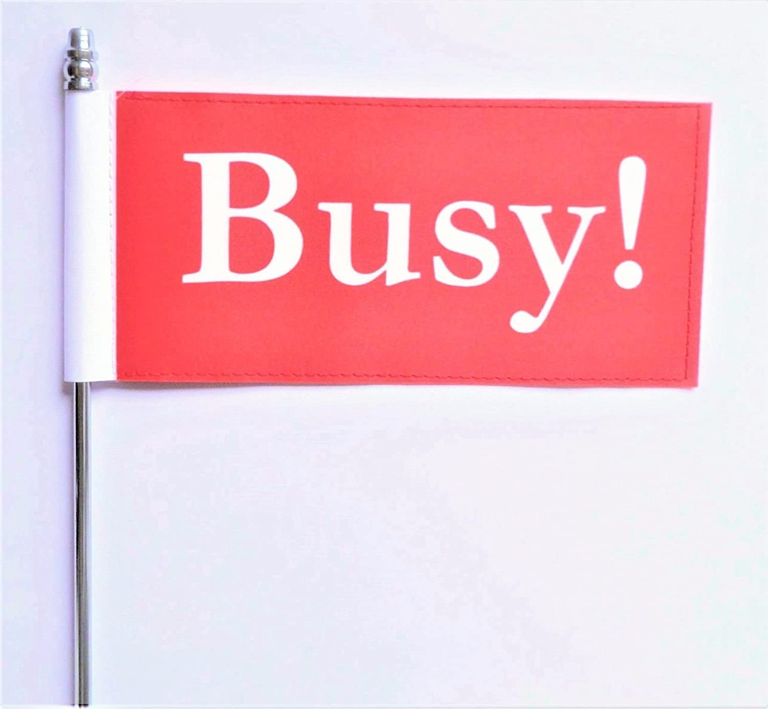Busy ! Red Office Desk Workplace Ultimate Table Flag