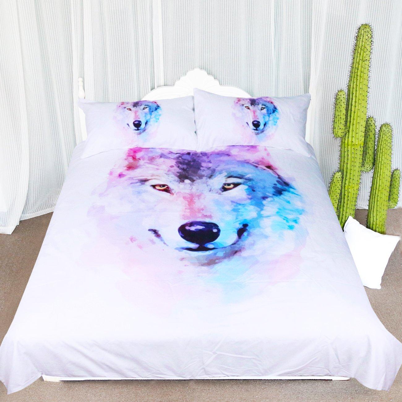 Arightex Artistic Wolf Face Duvet Cover Animal Nature Art Bedding Coverlet Watercolor Winter Wolf Comforter Cover Set (Full)