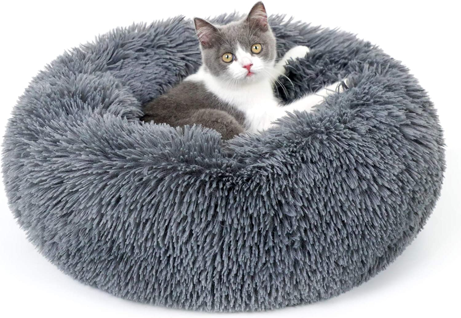 rabbitgoo Cat Bed for Indoor Cats, Fluffy Round Cat Bed for Small Dogs Kittens, Self Warming Calming Bed for Improved Sleep, Soft Plush Donut Cuddler Cushion Pet Bed, Non-Slip, Machine Washable