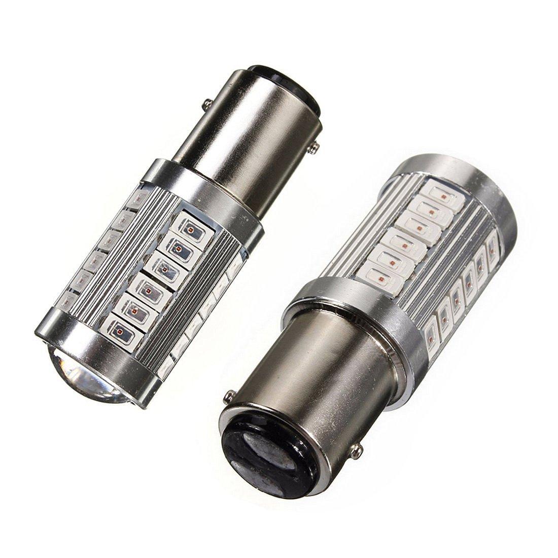 KATUR 2pcs 1157 BAY15D 5630 33-SMD Red 900 Lumens Super Bright LED Turn Tail Brake Stop Signal Light Lamp Bulb 12V 3.6W