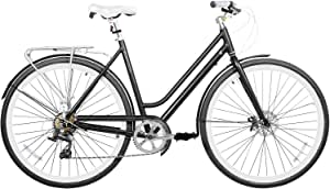 Gama Bikes Women Metro Bicycle City Light Aluminium Commuter High Performance Bike with Rapid Fire Shifter 7 Speeds and Disc Brakes, Black