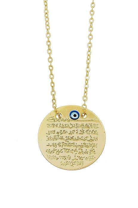 Necklace with Ayat al kursi'Sura Gold Faux Covers for engraving, Qu 'ran, Muslim Arabic Turkish Evil Eye Nazar Turkish Eye