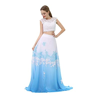 BessWedding Two Piece Chiffon Floor Length Ombre Prom Dress with Lace Appliques at Amazon Womens Clothing store: