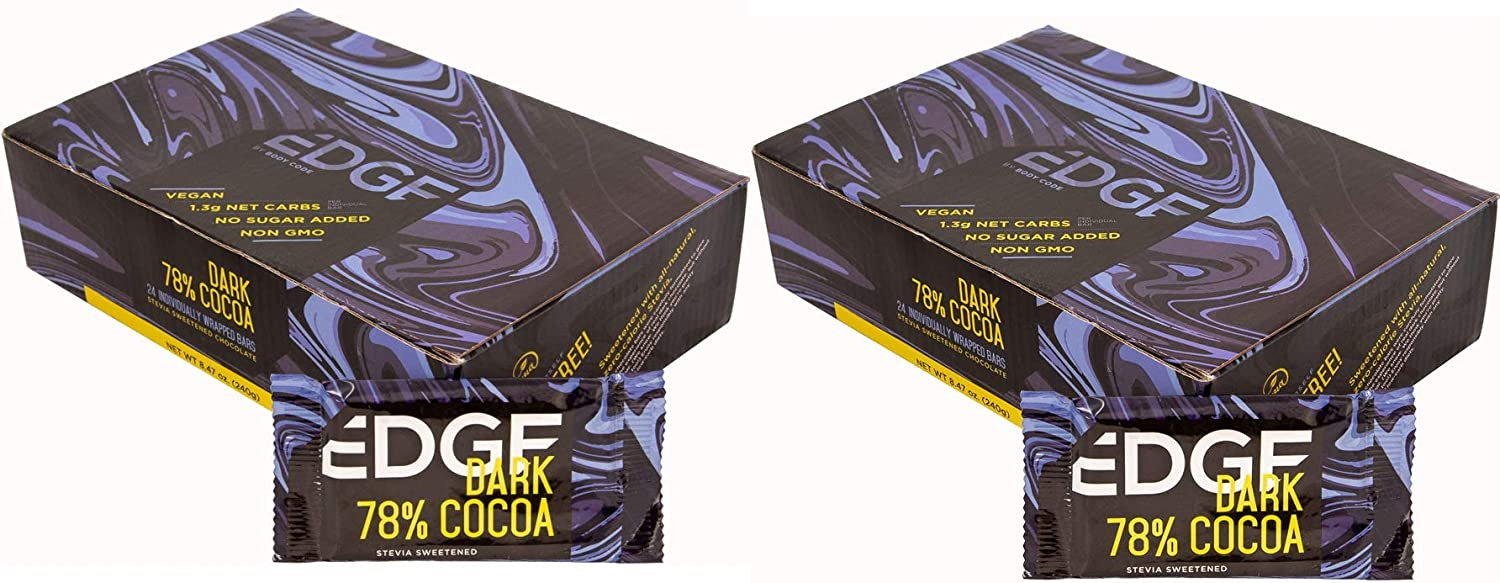 Edge Keto Chocolate Bars – 78% Dark - (2) Boxes, Snack Size Bars