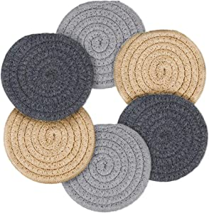 Coasters for Drinks, Handmade Braided Coaster Set 4.3 Inch Thicken Heat Insulation Coasters for Drinks Absorbent