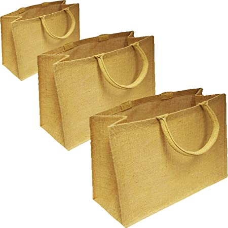 9caca30119f Jute Shopping Reusable Bags By Alan s Hessian Luxury Plain Tote Natural Eco  Friendly Reusable Shopping Carriers (1, SMALL 22W x 20H x 12D cm)   Amazon.co.uk  ...