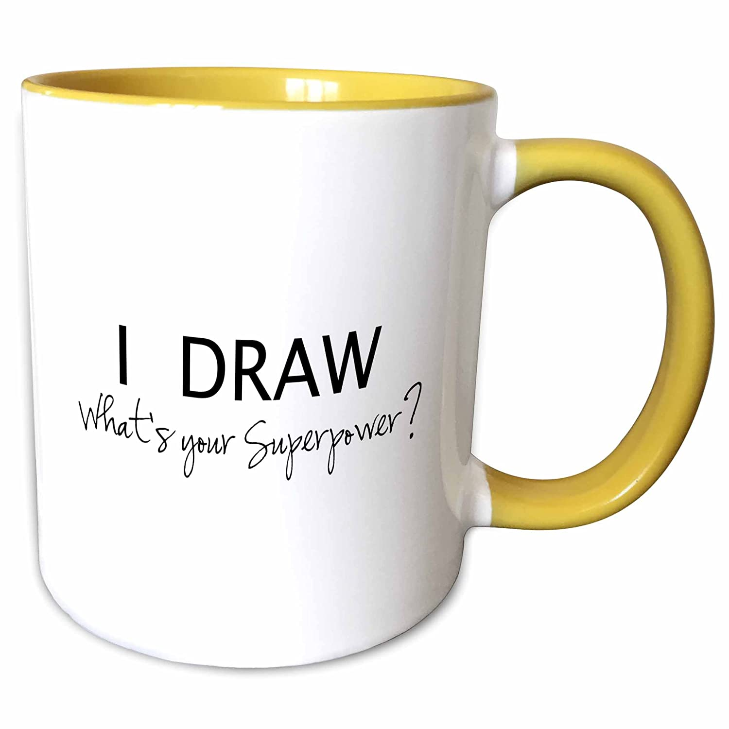 (440ml) - 3dRose mug_194453_2 I Draw What's Your Superpower Fun Gift for Arty Artists Art Love Ceramic Mug, 440ml, White B00NVVU8I4 15 oz  15 oz