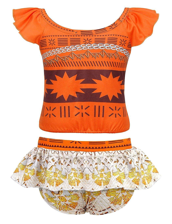 HenzWorld Cartoon Princess Girls Swimsuits Hawaiian Ruffle Swimwear Beach Bathing Suit Tankinis 1-7 Years