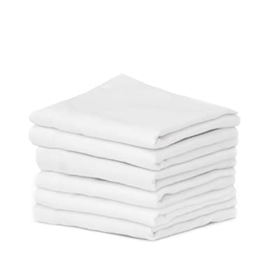 Madras Collections 100% Certified Organic Cotton Napkin Soft Commercial Grade, Multipurpose Highly Absorbent White Herringbone Napkin Set of 6 Napkins Size 20x20 Inches