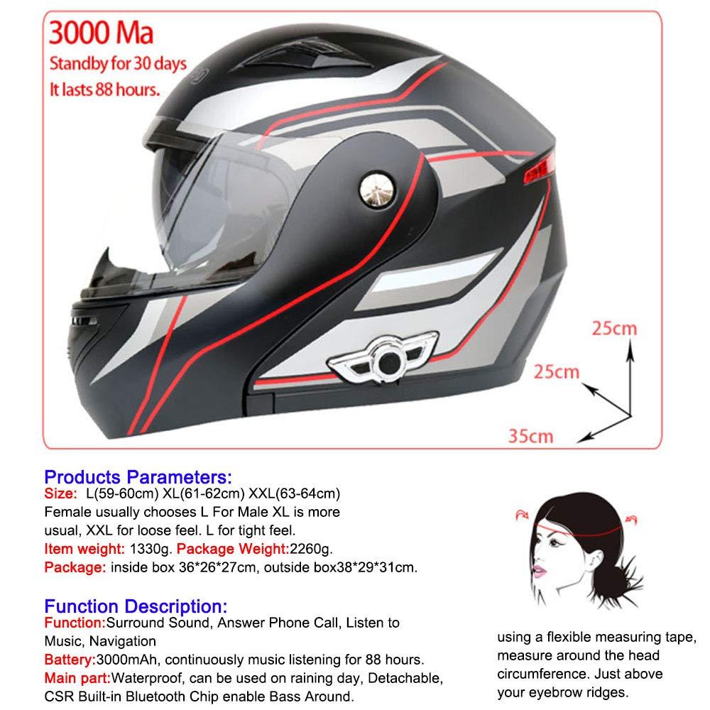 Cascos de Moto Casco Integral Bluetooth Casco Modular Certificaci/ón D.O.T Sistema de comunicaci/ón Integrado con visores Dobles abatibles