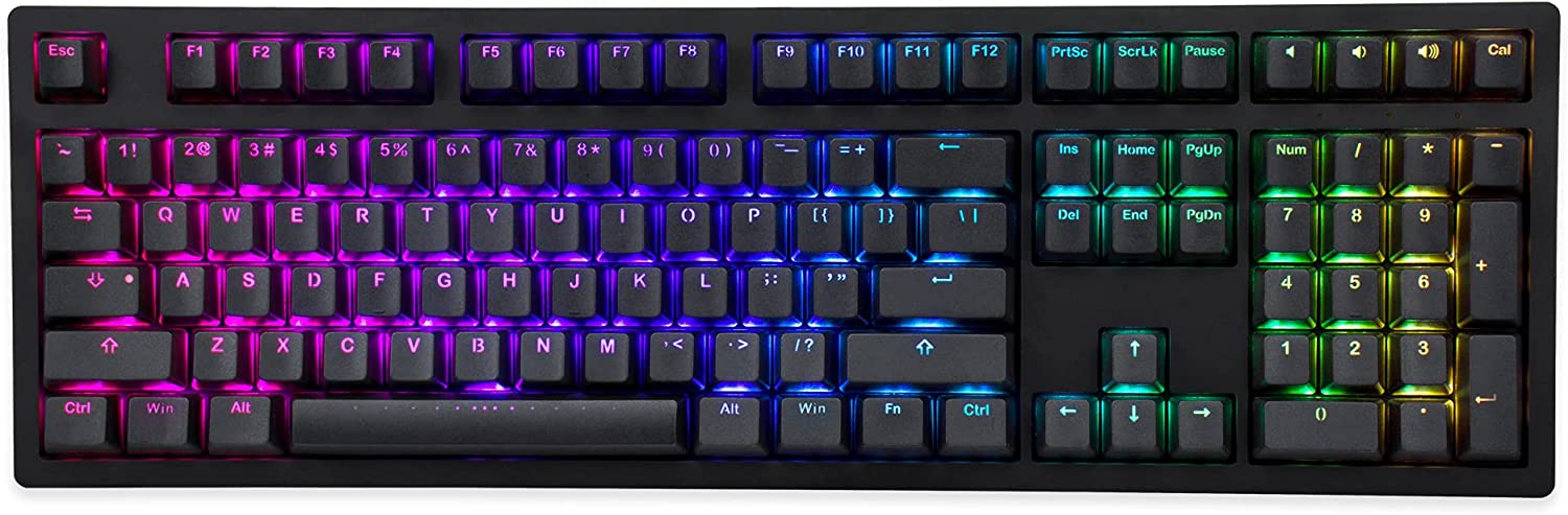 iKBC MF108 v3 RGB LED Backlit Mechanical Keyboard with Cherry MX Brown Switch for Windows and Mac, Full Size Computer Keyboards with PBT Double Shot Keycaps, CNC Aluminum Black Color Case, ANSI/US