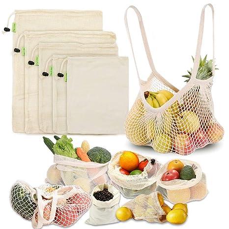 MAIKEHIGH Bolsas Reutilizables de Compras Algodón, Bolsa Malla Orgánico Grande Lavable para Fruta, Verdura, Comida, Juguetes (XL,L,M,S, Bolso Mano, ...