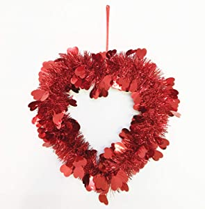 Red Tinsel Heart Wreath Decorations - Heart Shaped Decor for Front Door Wall - Valentine Day Wreath Decorations Outdoor Indoor - Artificial Heart Decorations for Party, 16 Inch
