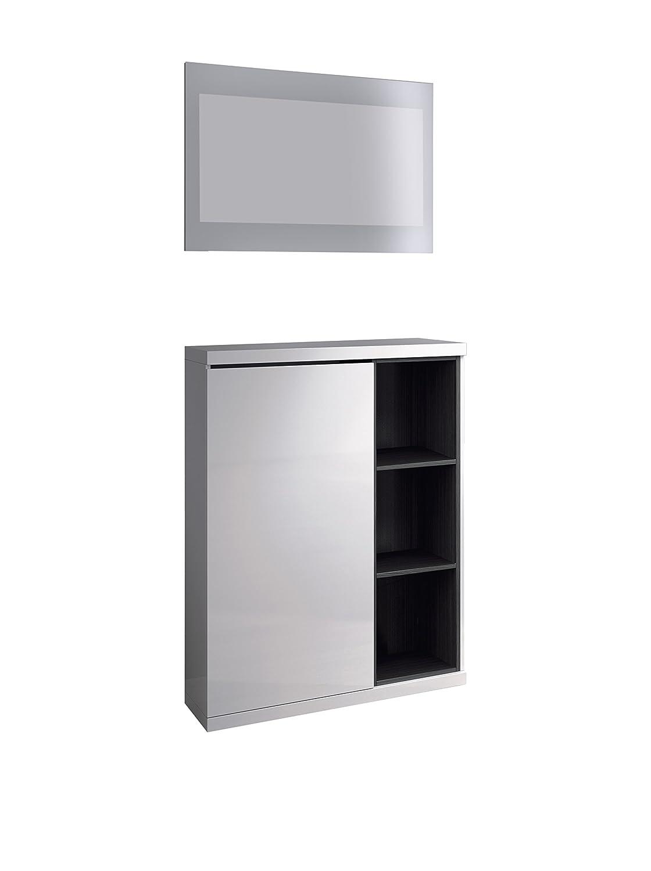 Habitdesign 0G6749BO - Meuble à chaussures ouleur blanc brillant et cendre 79 x 108 x 25 cm + miroir