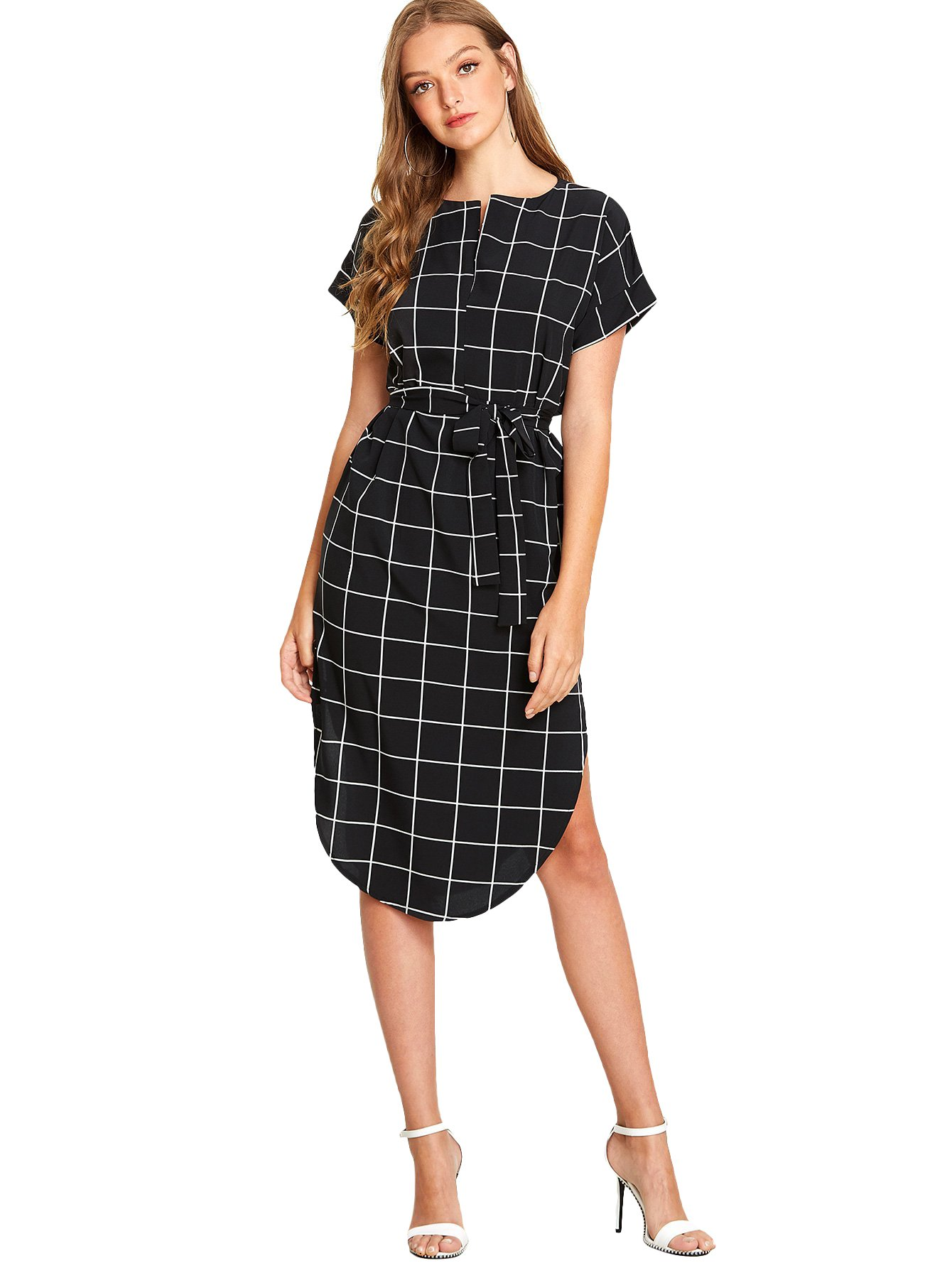 Romwe Women's Dresses Summer Casual Grid Dress Knee Length Split Pencil Dress with Belt Black XL