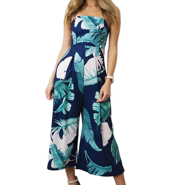 41e9cf33ce33 Kinikiss Off The Shoulder Elegant Casual Floral High Waist Strapless  Bandeau Playsuit Wide Leg Women Jumpsuit Culottes (L
