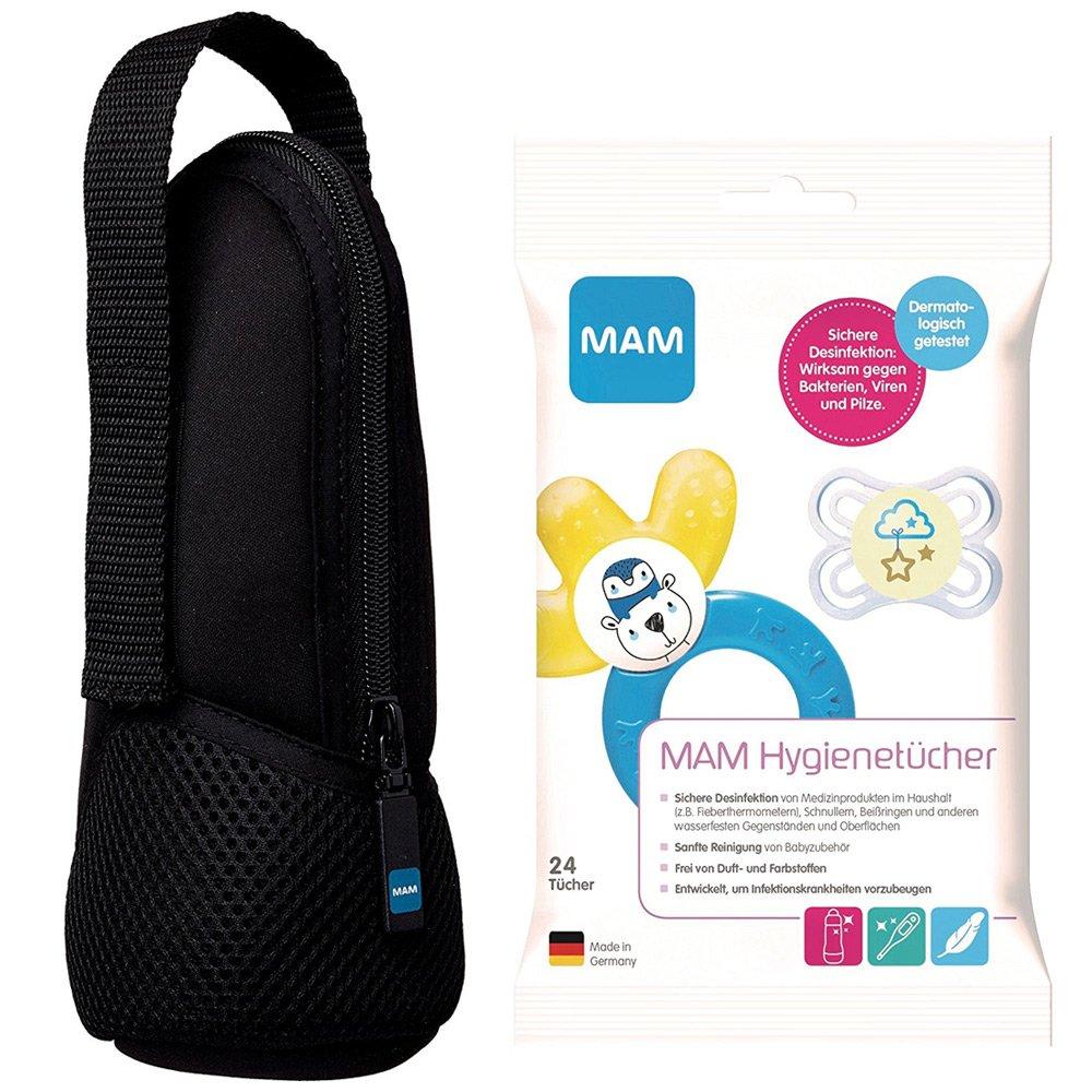 MAM Set für unterwegs // MAM Thermal Bag Isoliertasche black & MAM Hygienetücher, 24 Stück 24 Stück