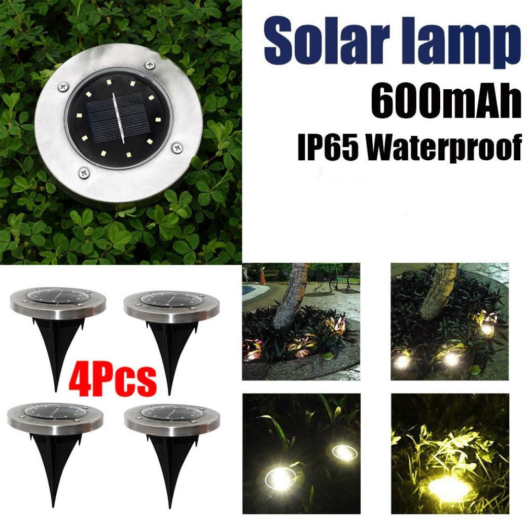 Inverlee 4PC In-Ground 10LED Lights Solar Powdered Outdoor Ground Garden Path Floor Underground Buried Yard Lamp Path Way Garden Decking (4Pcs-10LED) by Inverlee