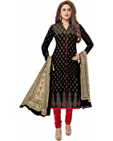 Miraan Women's Cotton Dress Material (San7008_Black_Free Size)