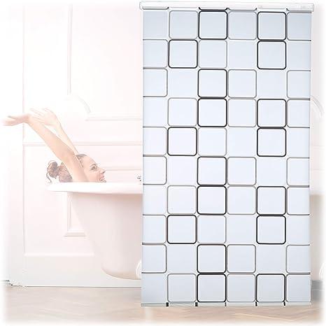 Relaxdays, Semitransparente, 120x240 cm Cortina de Ducha Square, A Cuadros, Soporte de Techo, PVC-Plástico-Aluminio: Amazon.es: Hogar