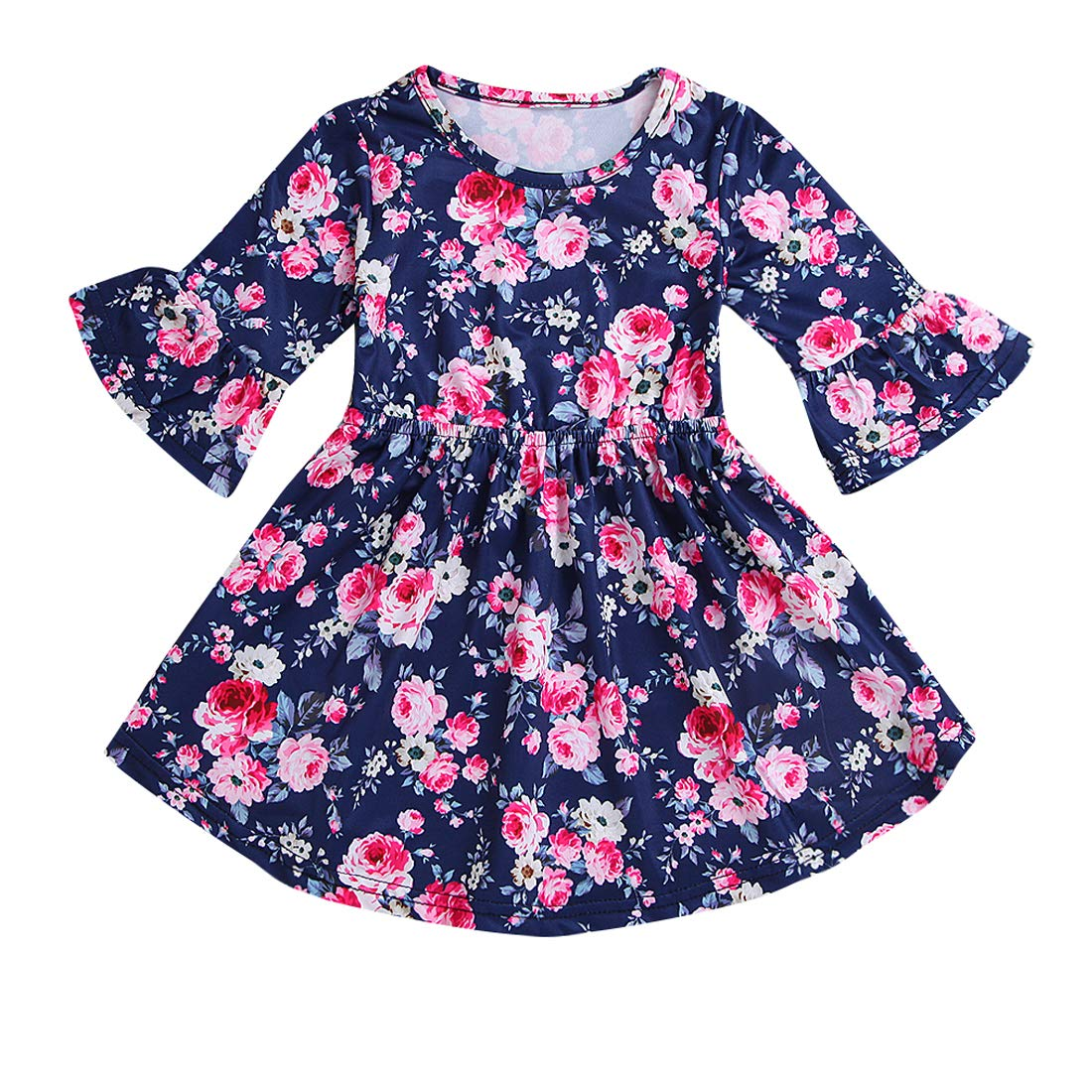 Toddler Kid Baby Girl Dress Floral Ruffle Half Sleeve Skirt Fall Clothes Set