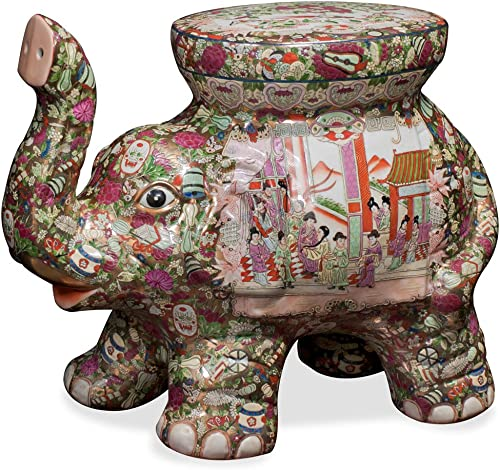 ChinaFurnitureOnline Porcelain Elephant Seat, Hand Painted Courtly Scene Motif Canton Rose Style