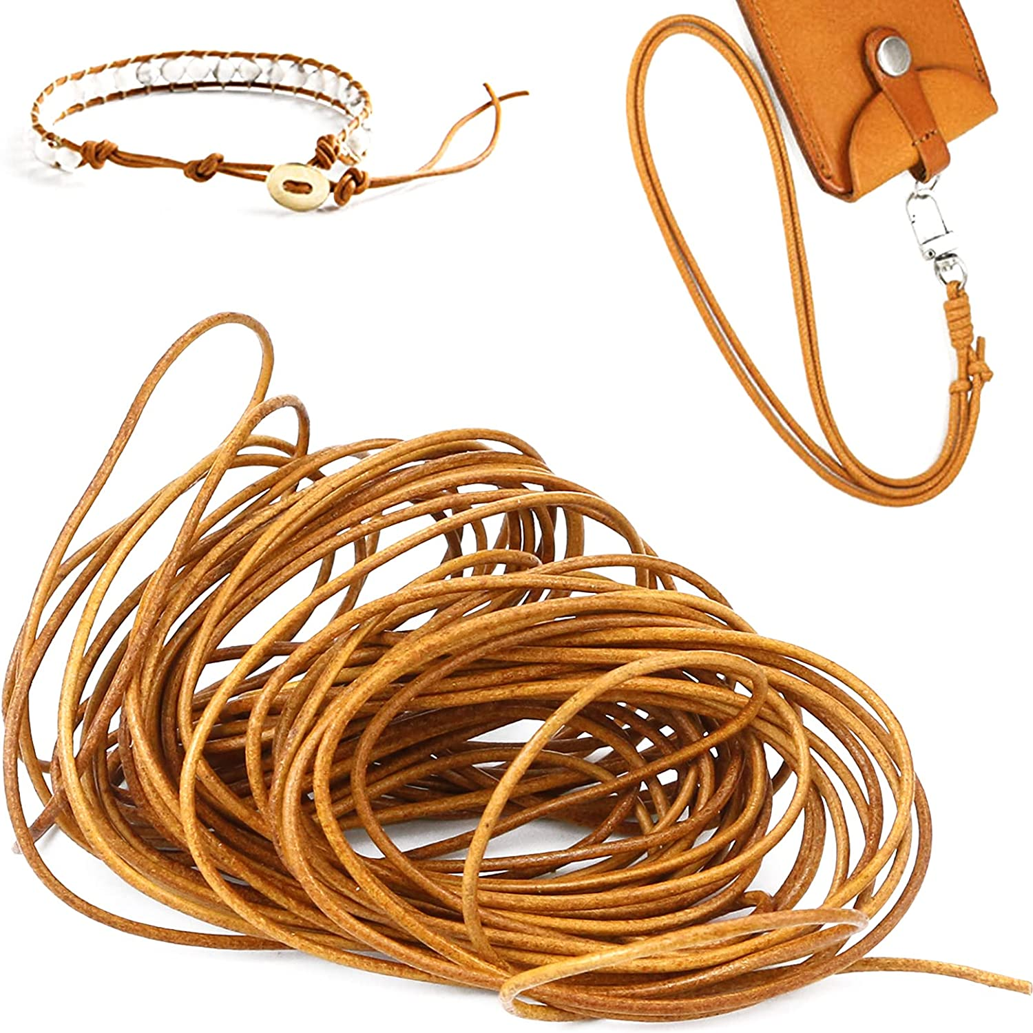 Fansunta Round Cowhide Genuine Leather String Cord, Natural Rawhide Rope, Genuine Round Leather Braiding, Craft Round Leather for Jewelry Making, Bracelet Necklaces Making (10Yards_ 2MM)