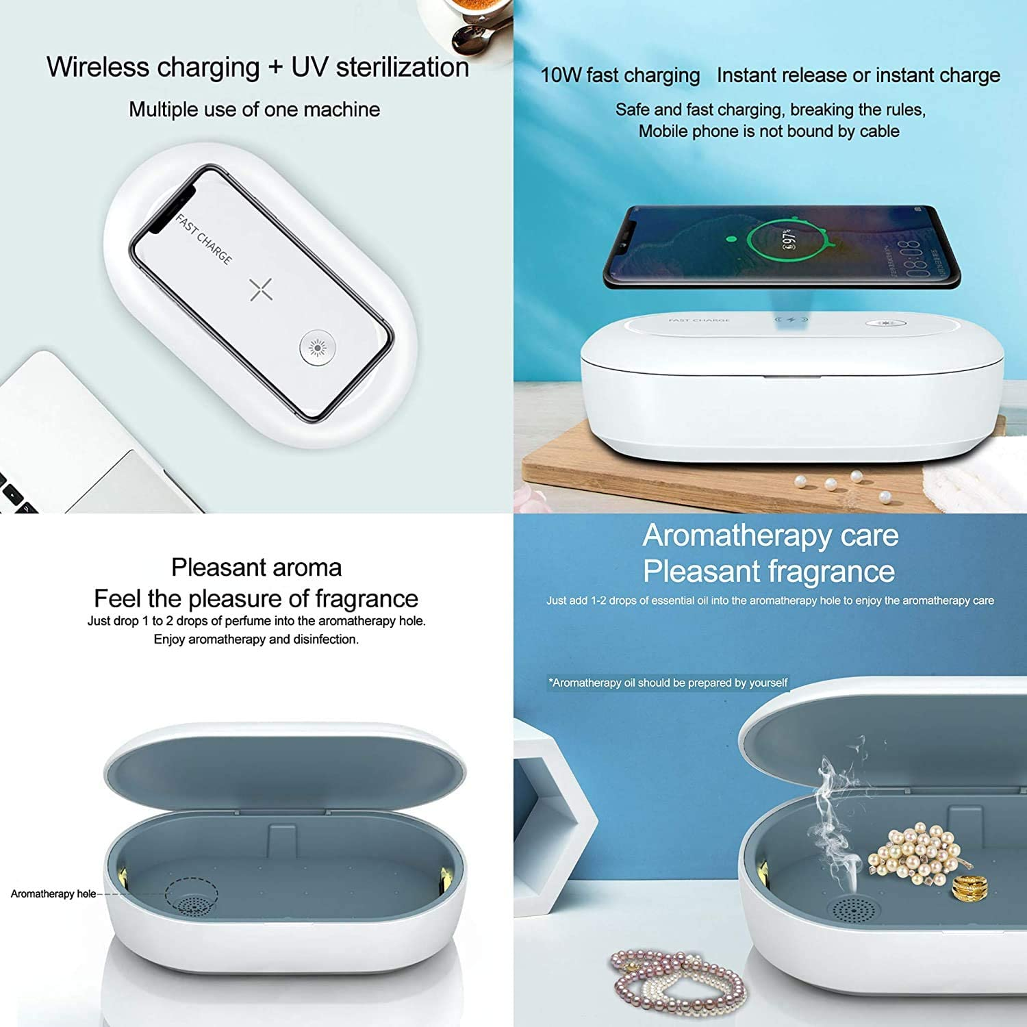 Mobile Phone Ultraviolet Light Mask Sanitizer UV-Clean Disinfection Wireless Charger for Face Mask Toothbrush Watches Fast /& Effective Sterilization Disinfector Box Jewelry Makeup Tools