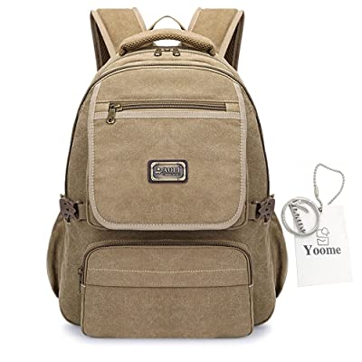 Yoome Fashion Casual Canvas Backpack Sacs à l'extérieur pour hommes 15 pouces Laptop Back Day Voyage College Hiking Camping Mountaineering Weekend Bag - Khaki
