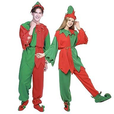 bde1f7ac9 EraSpooky Adults' Christmas Costumes Santa Elf Costume Women Elf Outfit Men Dress  Up - Funny