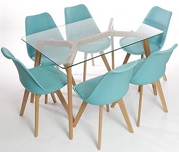 Charles Jacobs Table De Salle A Manger Avec Six Chaises Bleu