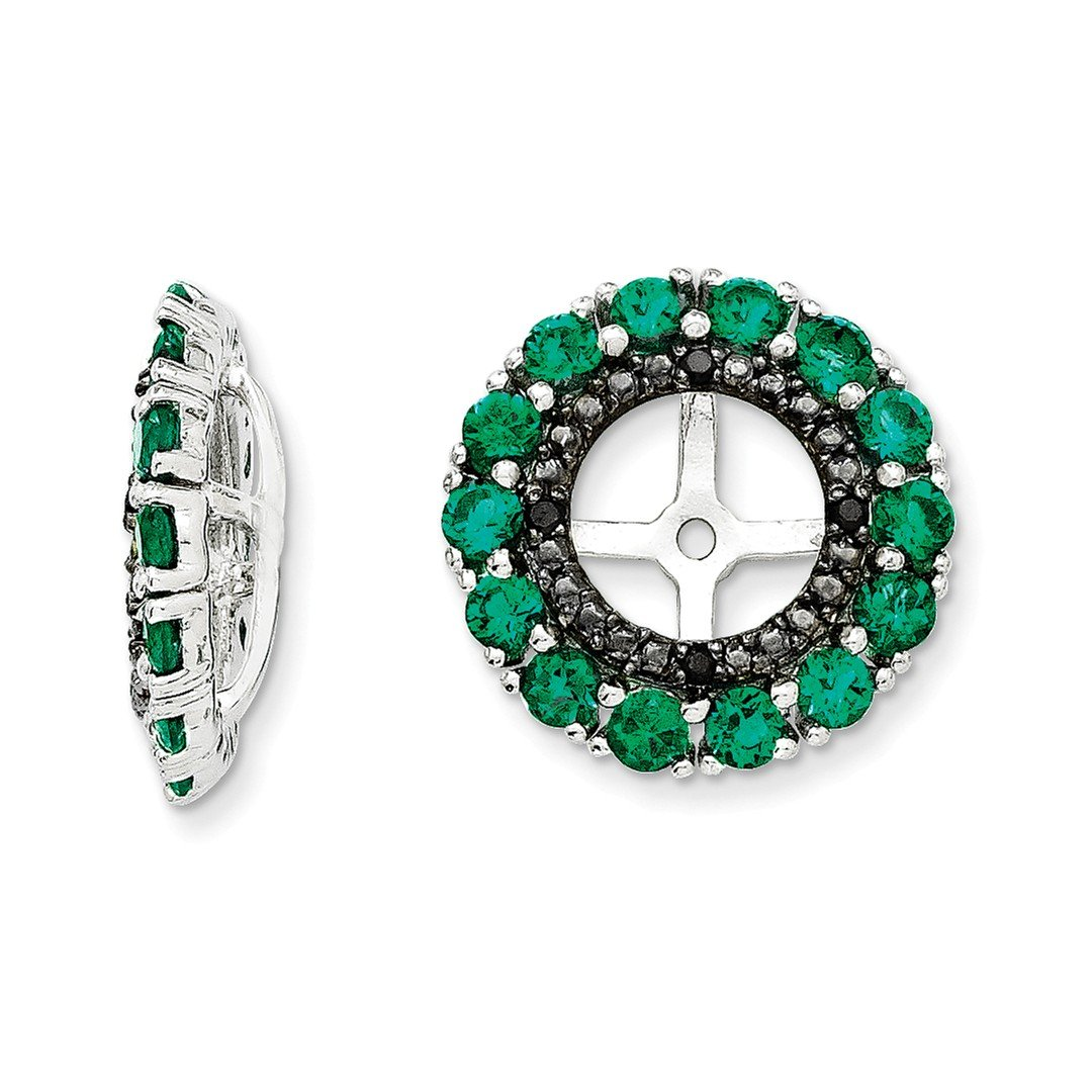 ICE CARATS 925 Sterling Silver Created Green Emerald Black Sapphire Earrings Jacket Birthstone May Fine Jewelry Gift For Women Heart